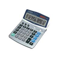 Aurora Silver/Grey 12-Digit Desk Calculator (Solar powered with battery back up) DT401