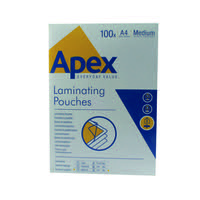 Fellowes Apex A4 Medium Laminating Pouches Clear (Pack of 100) 6003501