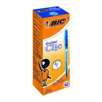 Bic Blue Cristal Clic Retractable Ballpoint Pen (Pack of 20) 850733