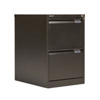Bisley 2 Drawer Filing Cabinet Flush Fronted Black BS2E BLACK