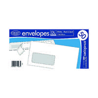 DL White Window Peel and Seal Envelopes 50 (Pack of 20)