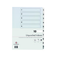 Concord Unpunched Index 1-10 A4 150gsm White (Pack of 10) 75201