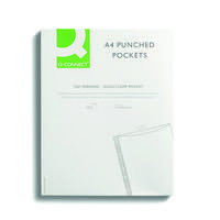 Q-Connect Punched Pocket Glass Clear (Pack of 100) KF01121