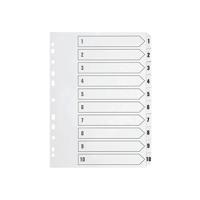 Q-Connect Multi-Punched 1-10 Polypropylene White A4 Index KF01353