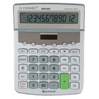 Q-Connect Dual Power ed Desktop Calculator 12-Digit Adjustable Display