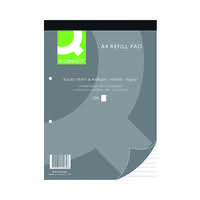 Q-Connect Feint Ruled Margin Headbound Refill Pad 200 Pages A4 (Pack of 5) KF02234
