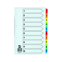 Q-Connect 1-10 Index Extra Wide Reinforced Multi-Colour Tabs KF76984