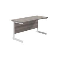 Jemini Single Rectangular Desk 1400x600mm Grey Oak/White KF800593