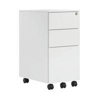 First Steel Slimline Under Desk Pedestal 3 Drawer White KF98516
