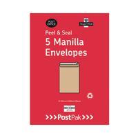 Envelopes C5 Peel & Seal Manilla 115Gsm (Pack of 5) POF27430