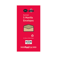Envelopes Dl Gummed Manilla 70Gsm (Pack of 5) POF27432
