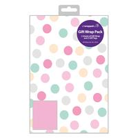 12 Gift Wrap Packs of 2 Sheets Gift Wrap and 2 Gift Tags Modern Stripes REG69595
