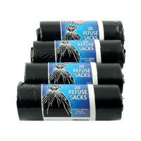 Safewrap Refuse Sack 20 Per Roll (Pack of 4) Black 0446