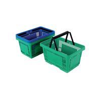 Plastic Shopping Basket (Pack of 12) Green 370767
