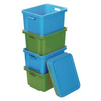 VFM Green Large Storage Bin With Lid (Pack of 10) 380036