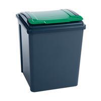 VFM Recycling Bin With Lid Green 50L Grey/Green 384288