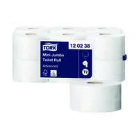 Tork Advanced Hygiene Mini Jumbo Toilet Roll 2-Ply (Pack of 12) 120238