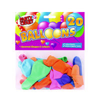 20 X Balloons Assorted Shapes And Colours (Pack of 12)