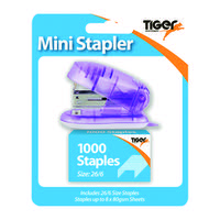 Tiger Mini 26/6 Stapler including 1000 Staples (Pack of 6) 301506