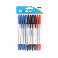 10 X Tiger Ballpoint Pens, Black, Blue And Red (Pack of 12)