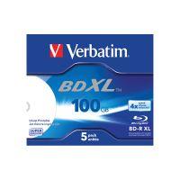 Verbatim BD-R XL 100 GB 4x Wide Printable Jewel Case Pack of 5 VM43789