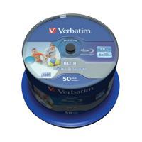 Verbatim Blu-ray BD-R 25 GB 6x Printable Spindle (Pack of 50) 43812