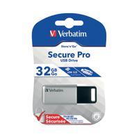 Verbatim Silver/Black Secure Pro USB 3.0 Flash Drive 32GB 98665