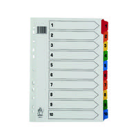 Multicoloured A4 1-10 Mylar Index WX01519