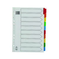 A4 Mylar Divider 10-Part White With Multi-Colour Tabs WX01526
