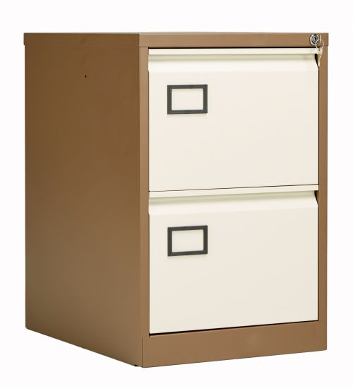 Bisley 2 Drawer Contract Steel Filing Cabinet - Coffee Cream