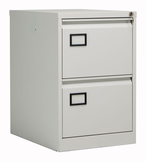 Bisley 2 Drawer Contract Steel Filing Cabinet - Goose Grey