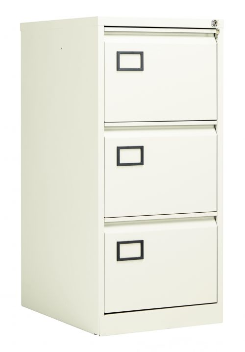 Bisley 3 Drawer Contract Steel Filing Cabinet - Chalk