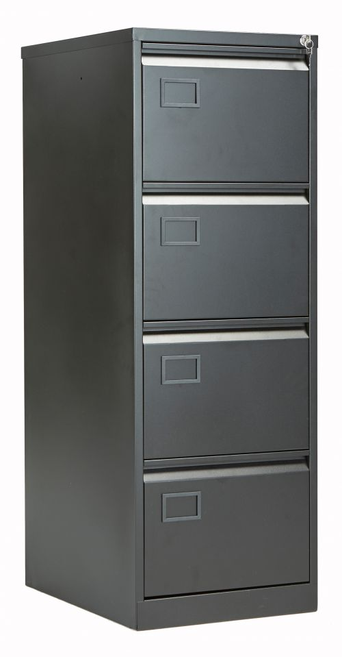 Bisley 4 Drawer Contract Steel Filing Cabinet - Black