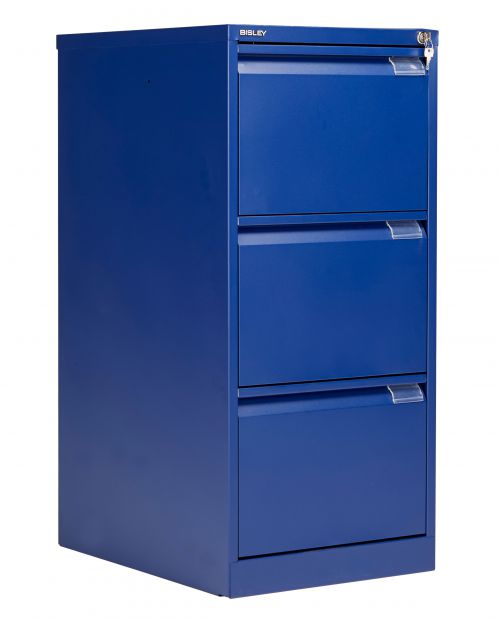 Bisley 3 Drawer Classic Steel Filing Cabinet - Blue