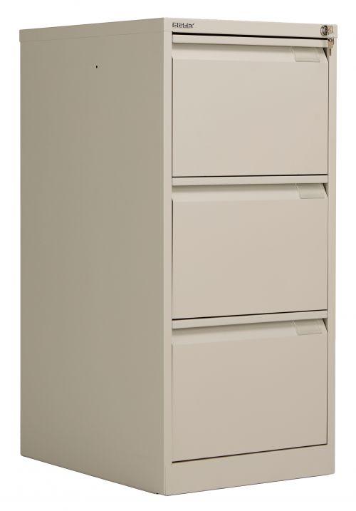 Bisley 3 Drawer Classic Steel Filing Cabinet - Goose Grey