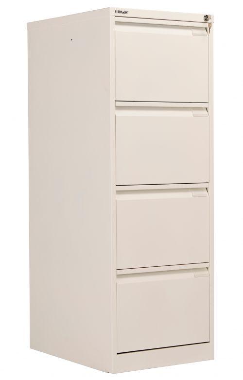Bisley 4 Drawer Classic Steel Filing Cabinet - Chalk