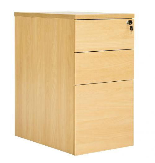 Workmode 3 Drawer Desk High 60 Pedestal - Oak