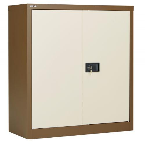 Bisley Steel Double Door Contract Cupboard inc. 1 Shelf - Coffee Cream