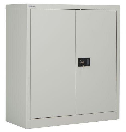 Bisley Steel Double Door Contract Cupboard inc. 1 Shelf - Goose Grey