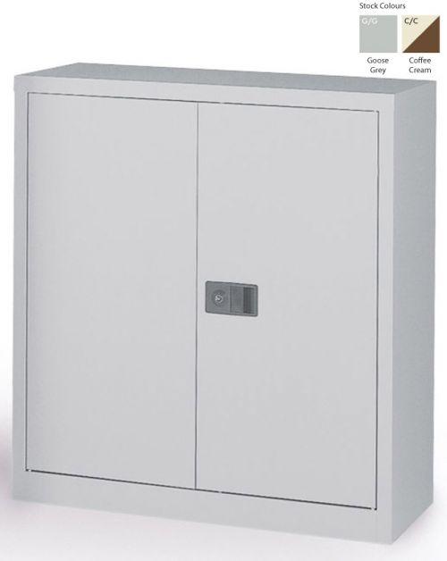 Context Storage 2 Door Cupboard in Goose Grey & 1 Black Shelf 1000h mm E402A01-av4