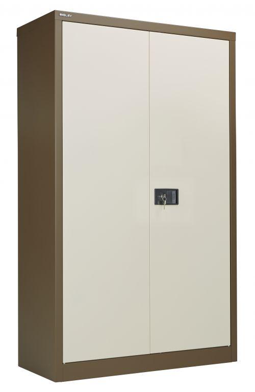 Bisley Steel Double Door Contract Cupboard inc. 3 Shelves - Coffee Cream