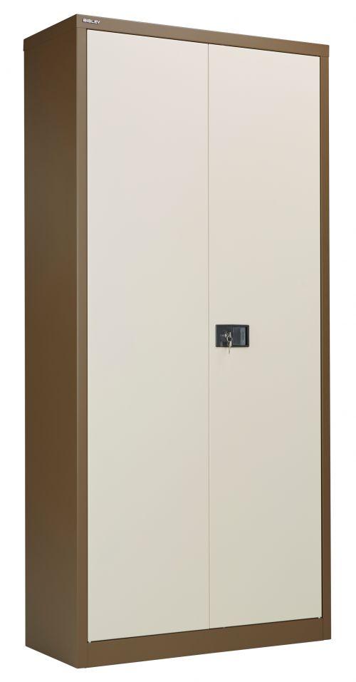 Bisley Steel Double Door Contract Cupboard inc. 4 Shelves - Coffee Cream