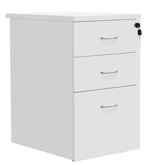 Fraction Plus 3 Drawer Desk High 60 Pedestal - White
