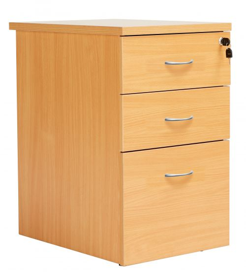 Fraction Plus 3 Drawer Desk High 80 Pedestal - Beech