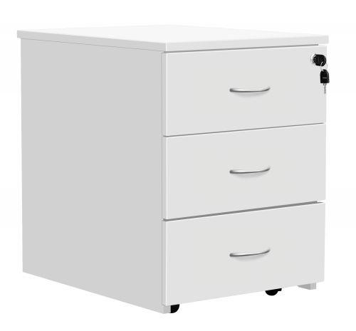 Fraction Plus 3 Drawer Low Mobile Pedestal - White