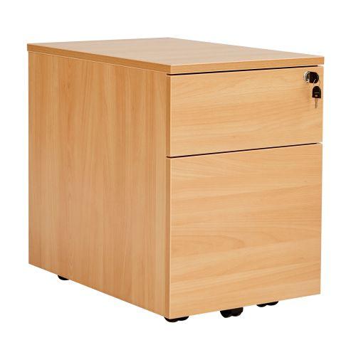 Workmode 2 Drawer Low Mobile Pedestal - Beech