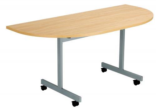 One Eighty D-End Flip Top Meeting Table - Nova Oak