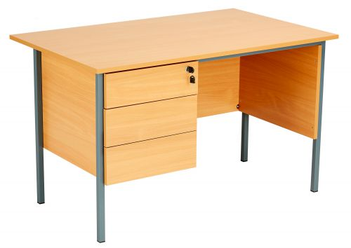 Eco 18 Rectangular Desk with Single 3 Drawer Pedestal - Beech