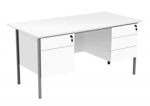 Eco 18 Rectangular Desk with Double 2 and 3 Drawer Pedestals - White