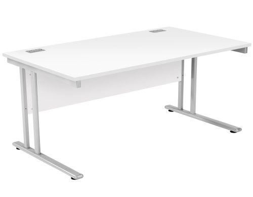 Fraction 2 Rectangular Workstation - White with Silver Frame